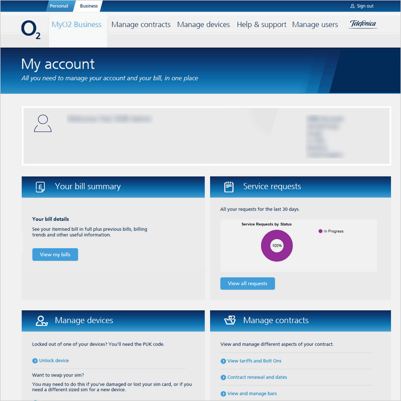 O2 My Account – For 10+ connections and not partner managed