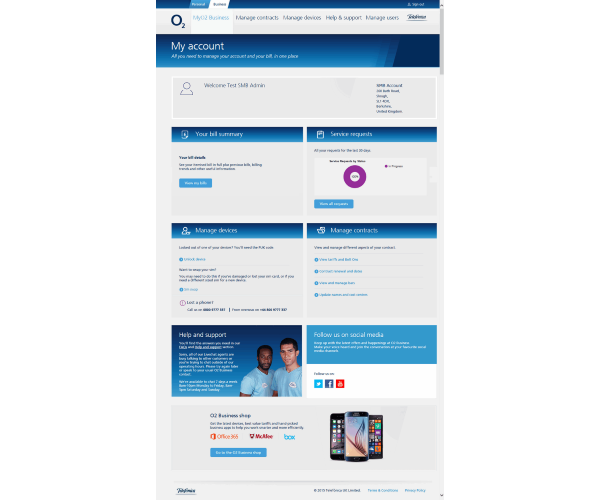 O2 My Account – For 1-9 connections and partner managed